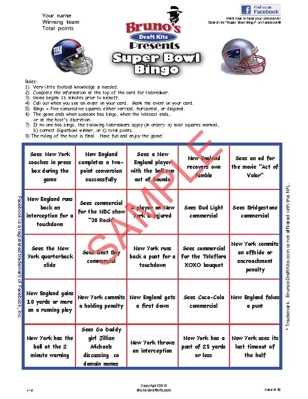 5x5 Super Bowl Bingo Card