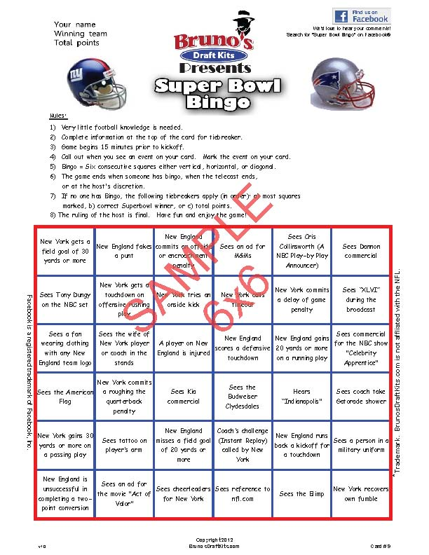 6x6 Super Bowl Bingo Card