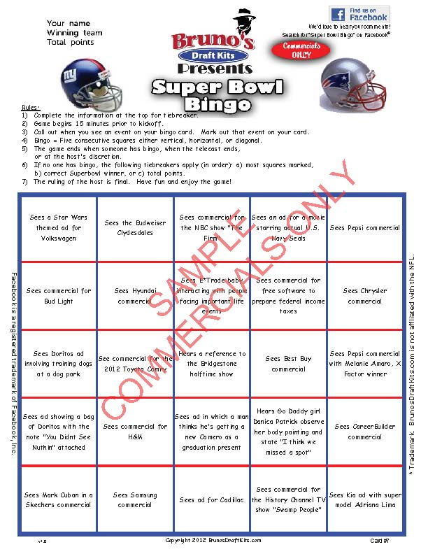 Super Bowl Commercial Bingo Card